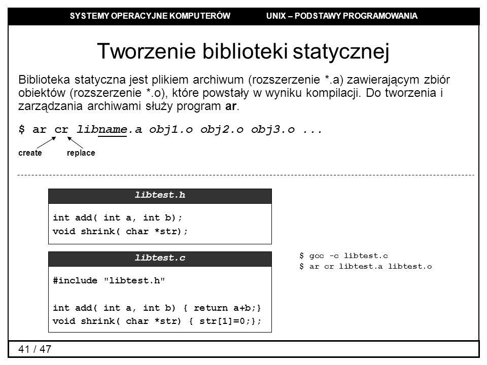 Tworzenie biblioteki statycznej