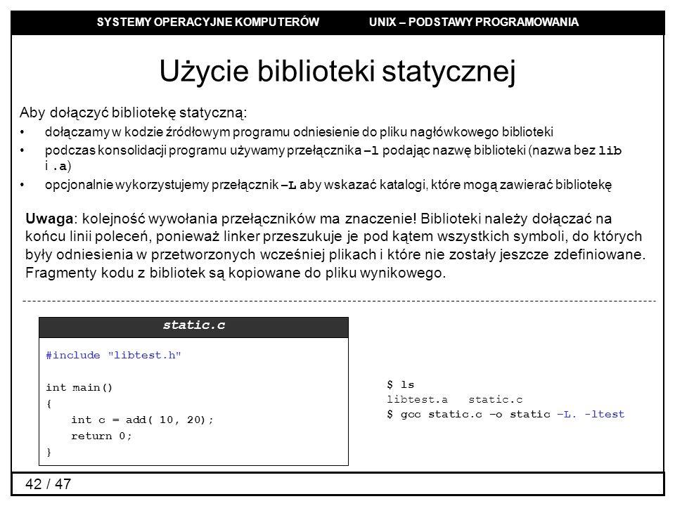 Użycie biblioteki statycznej