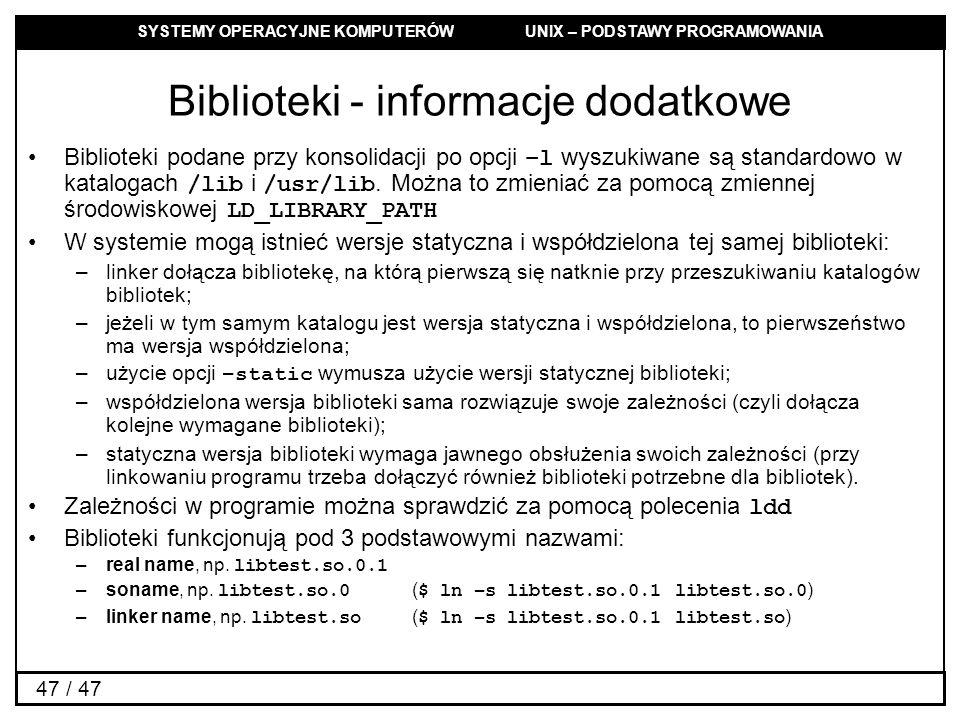 Biblioteki - informacje dodatkowe