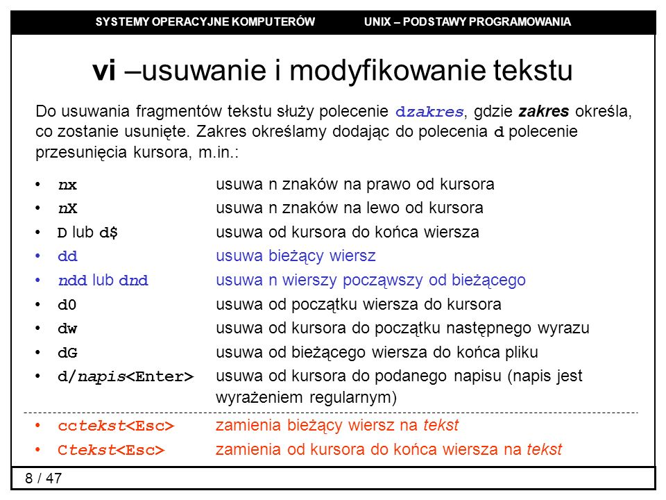 vi –usuwanie i modyfikowanie tekstu