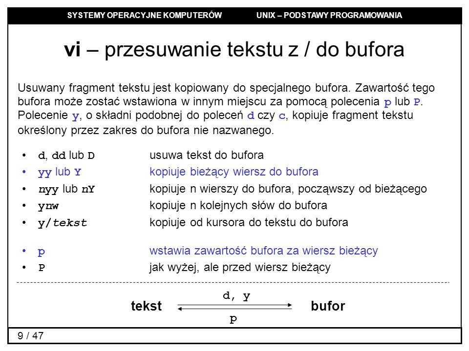 vi – przesuwanie tekstu z / do bufora