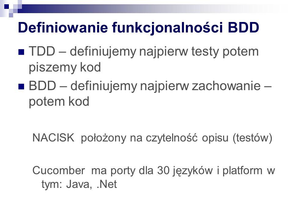 Definiowanie funkcjonalności BDD