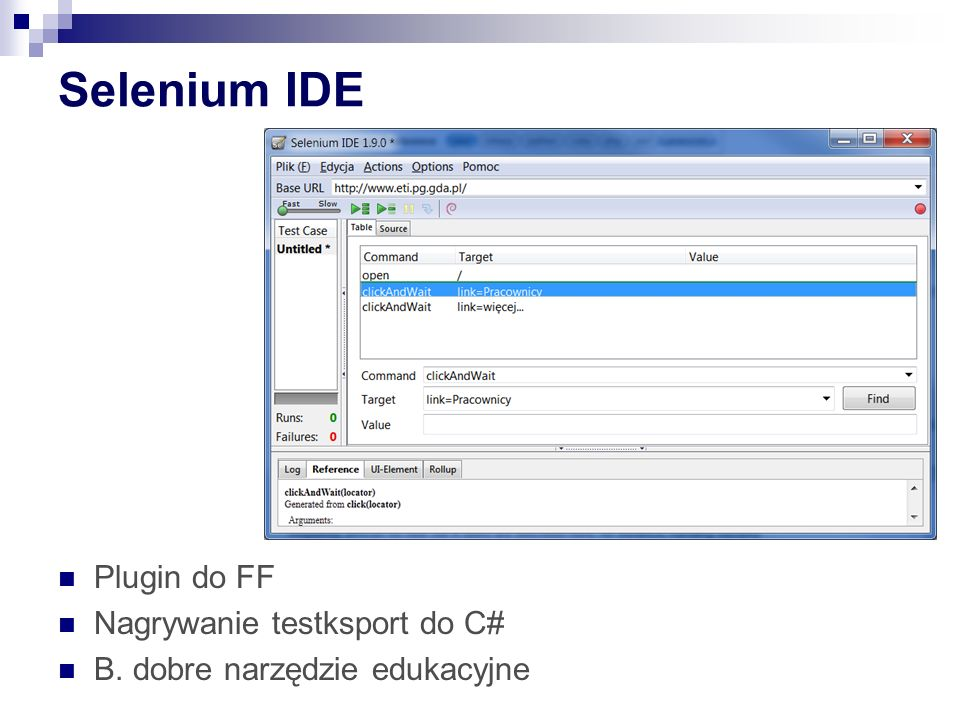 Selenium IDE Plugin do FF Nagrywanie testksport do C#