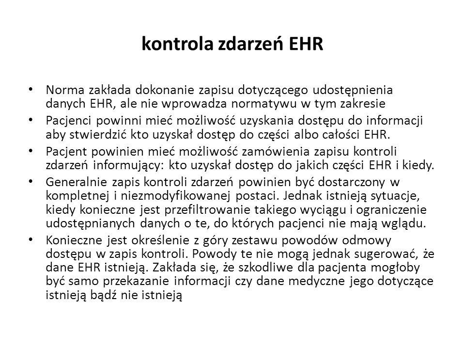 kontrola zdarzeń EHR Norma zakłada dokonanie zapisu dotyczącego udostępnienia danych EHR, ale nie wprowadza normatywu w tym zakresie.