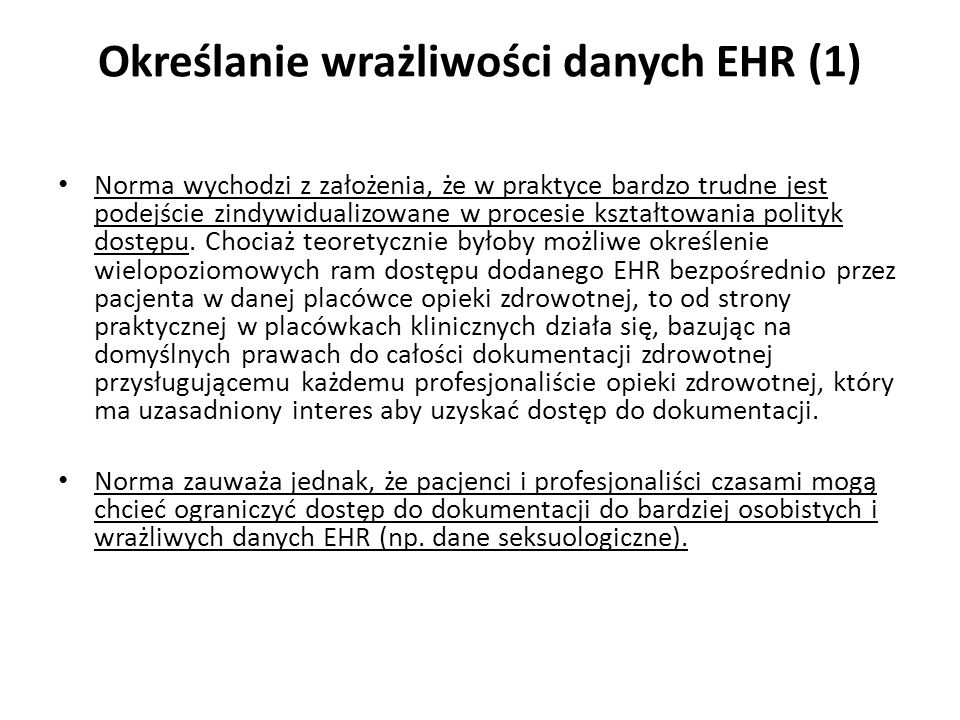 Określanie wrażliwości danych EHR (1)