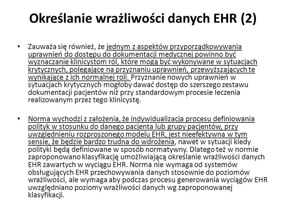 Określanie wrażliwości danych EHR (2)