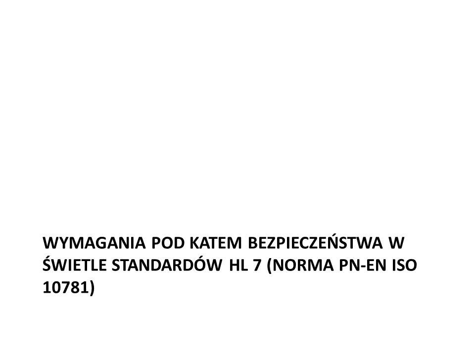 Wymagania pod katem bezpieczeństwa w świetle standardów HL 7 (norma PN-EN ISO 10781)