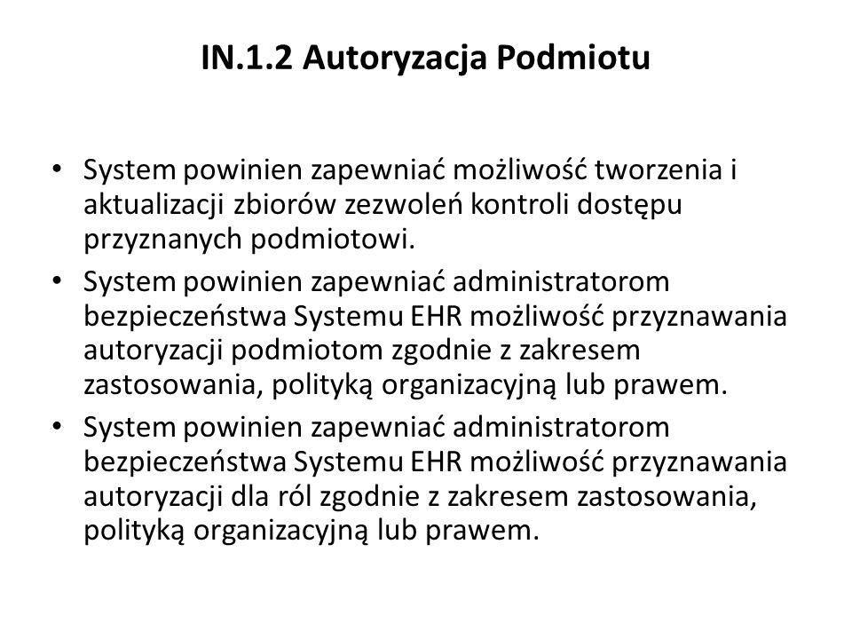 IN.1.2 Autoryzacja Podmiotu