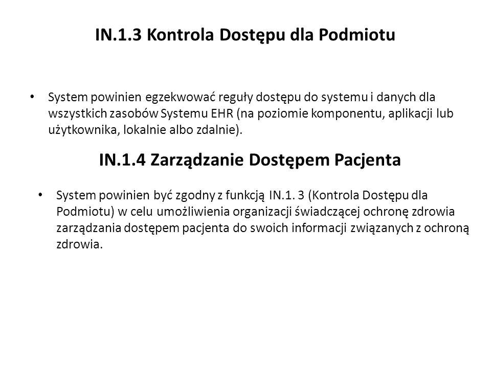 IN.1.3 Kontrola Dostępu dla Podmiotu