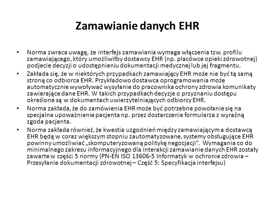 Zamawianie danych EHR