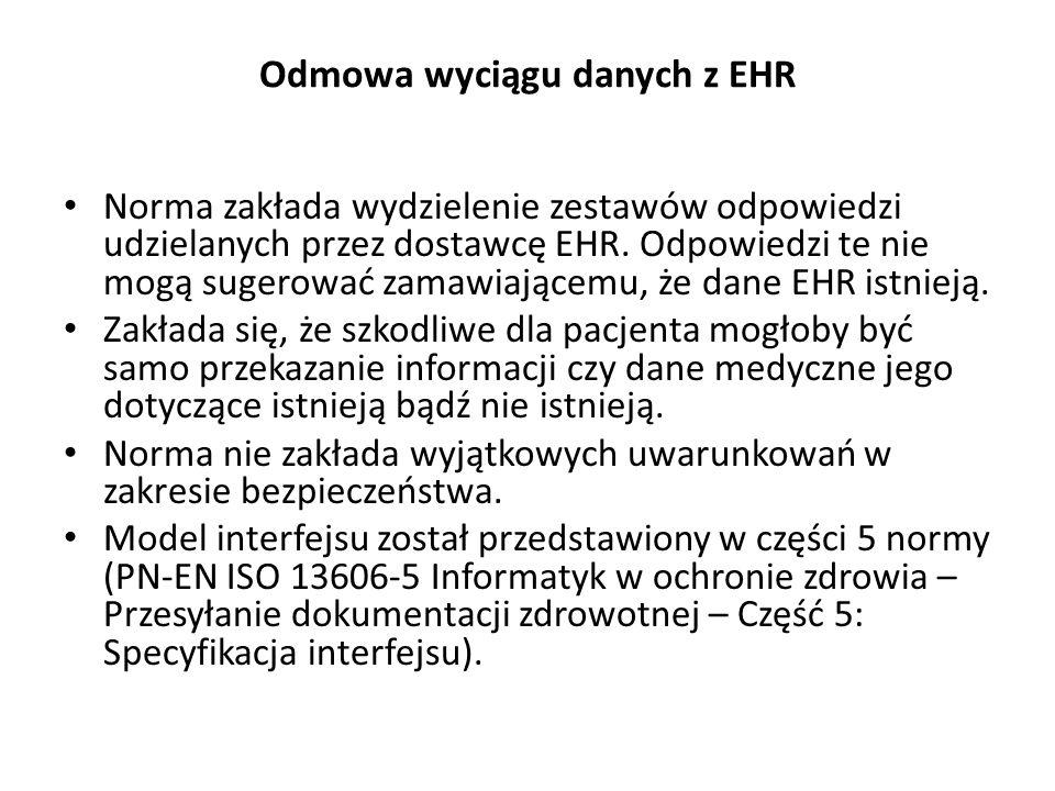 Odmowa wyciągu danych z EHR