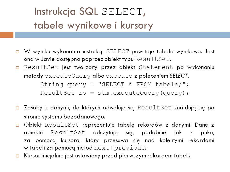 Instrukcja SQL SELECT, tabele wynikowe i kursory