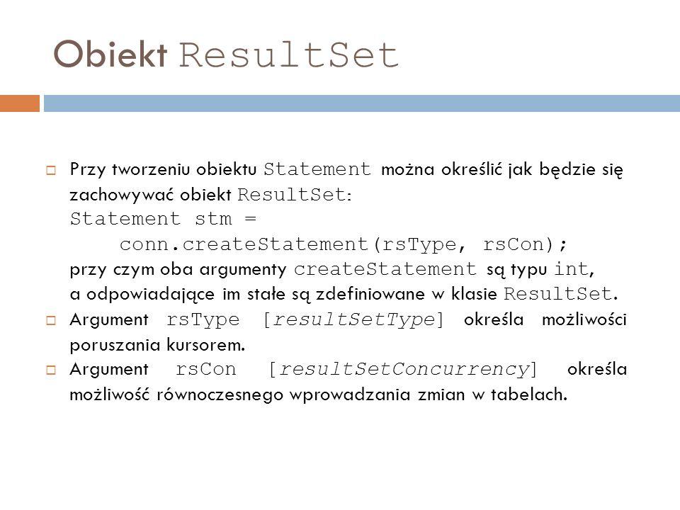 Obiekt ResultSet
