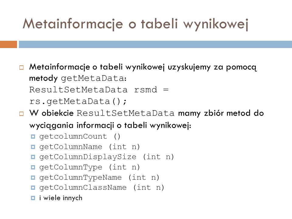 Metainformacje o tabeli wynikowej
