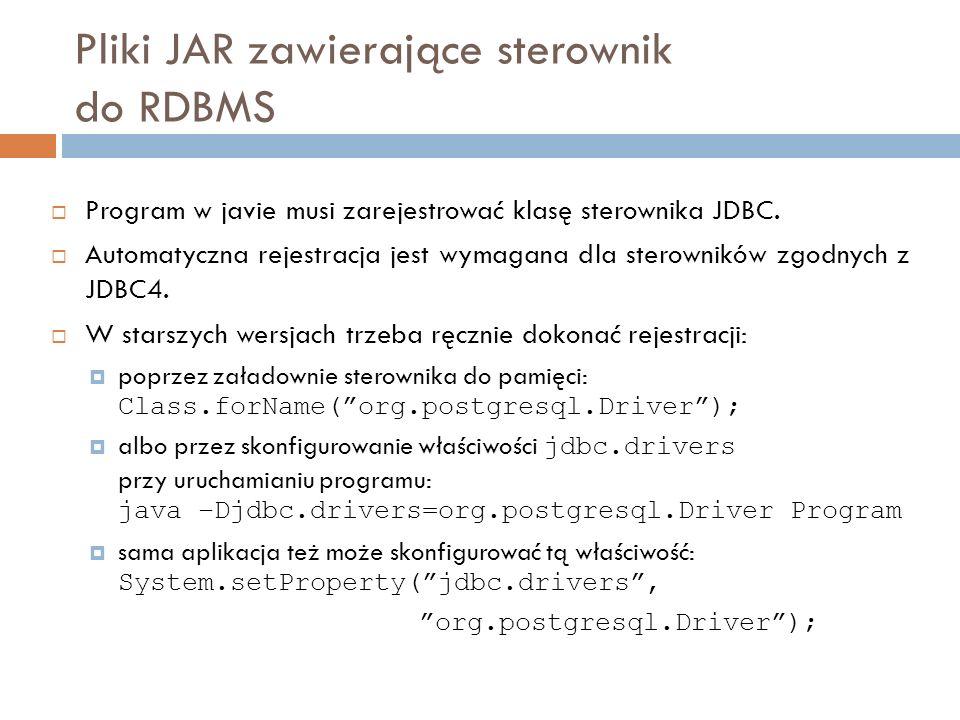 Pliki JAR zawierające sterownik do RDBMS