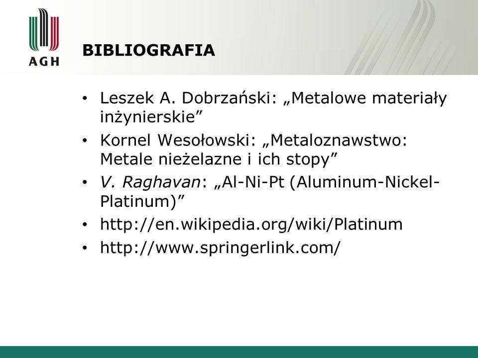 """Bibliografia Leszek A. Dobrzański: """"Metalowe materiały inżynierskie Kornel Wesołowski: """"Metaloznawstwo: Metale nieżelazne i ich stopy"""