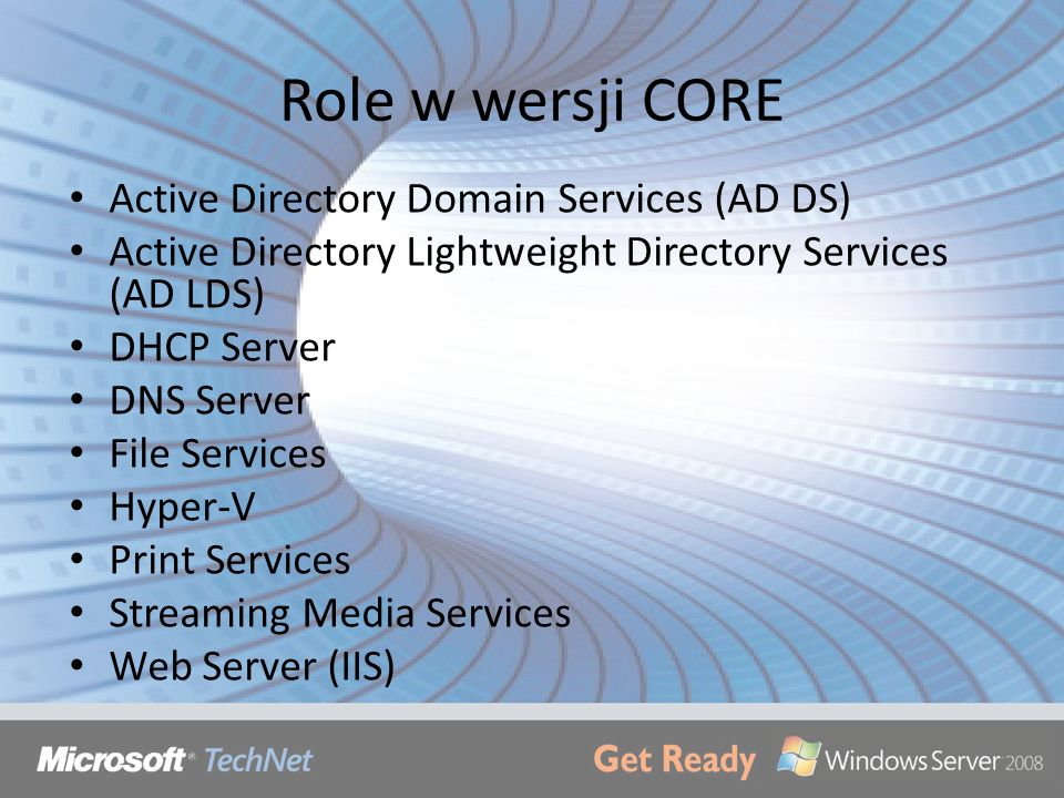 Role w wersji CORE Active Directory Domain Services (AD DS)