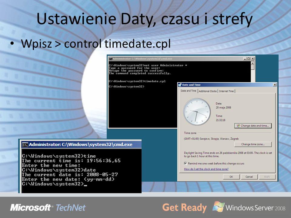 Ustawienie Daty, czasu i strefy