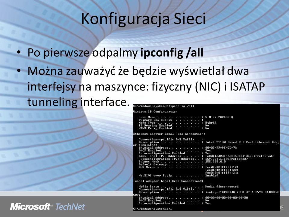 Konfiguracja Sieci Po pierwsze odpalmy ipconfig /all
