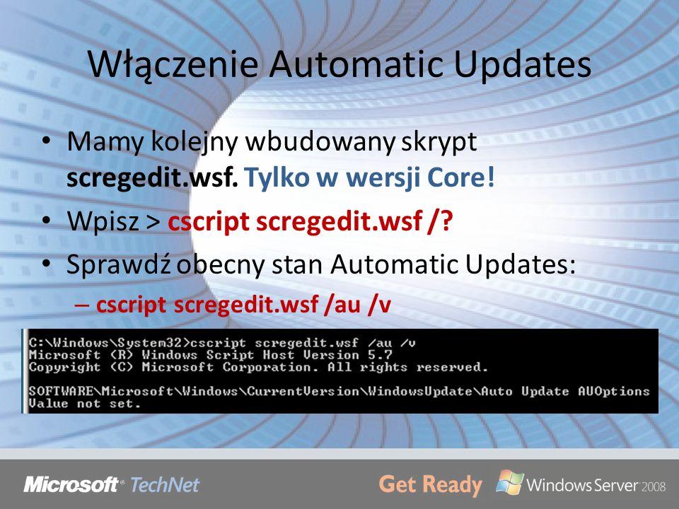 Włączenie Automatic Updates
