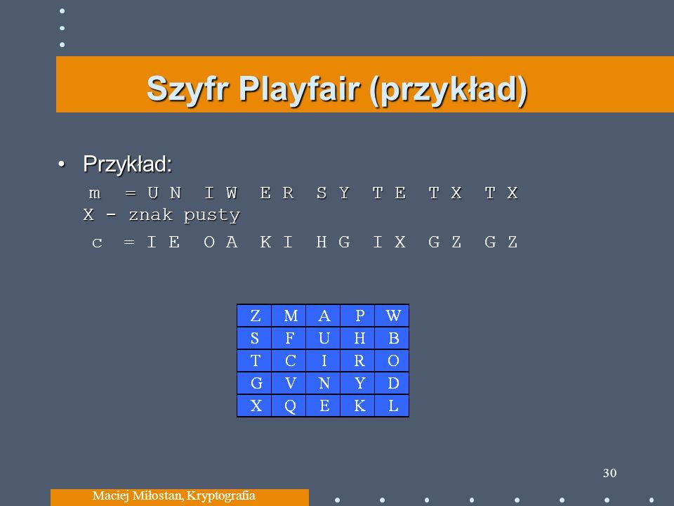 Szyfr Playfair (przykład)