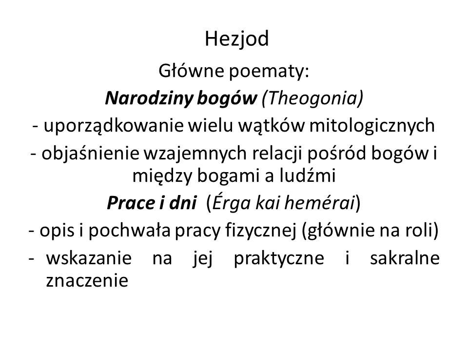 Hezjod Główne poematy: Narodziny bogów (Theogonia)