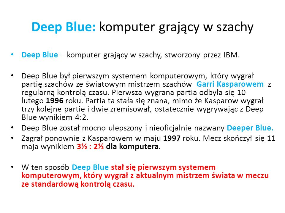 Deep Blue: komputer grający w szachy