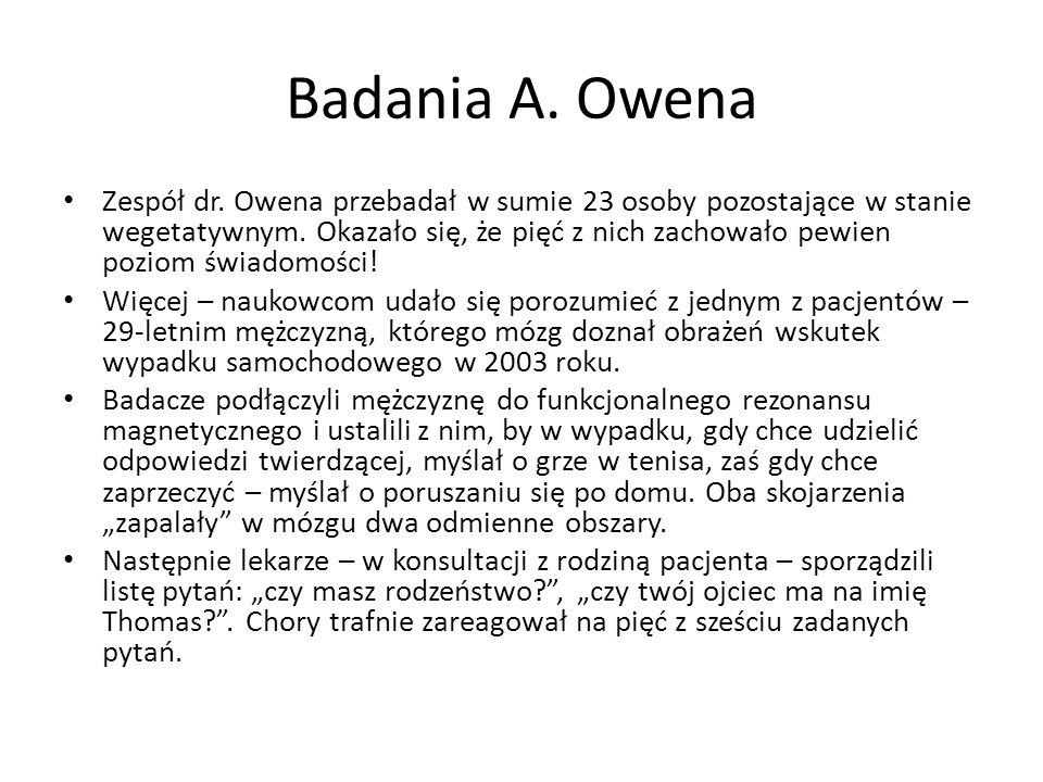 Badania A. Owena