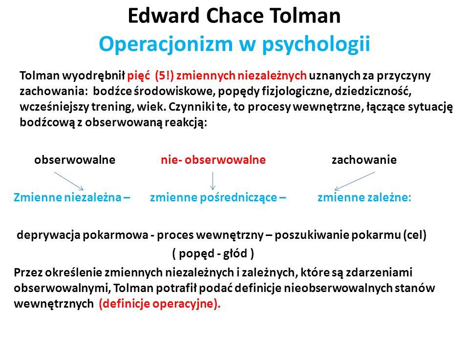 Edward Chace Tolman Operacjonizm w psychologii