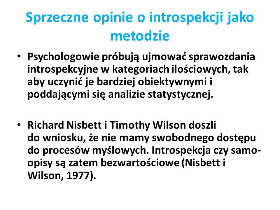 Sprzeczne opinie o introspekcji jako metodzie