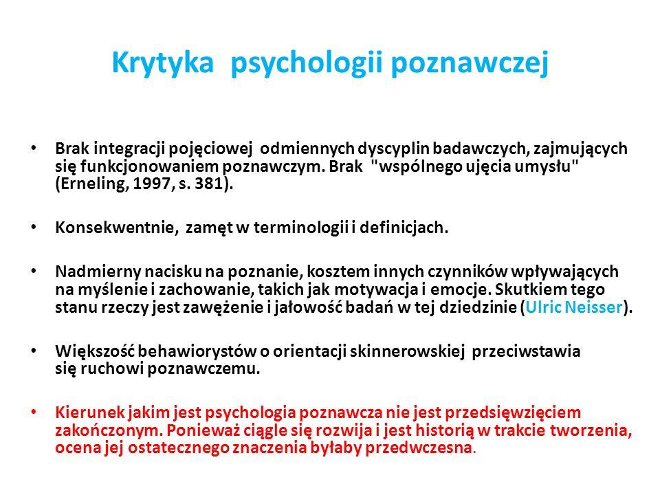 Krytyka psychologii poznawczej