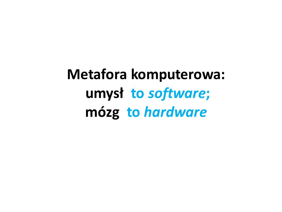 Metafora komputerowa: umysł to software; mózg to hardware