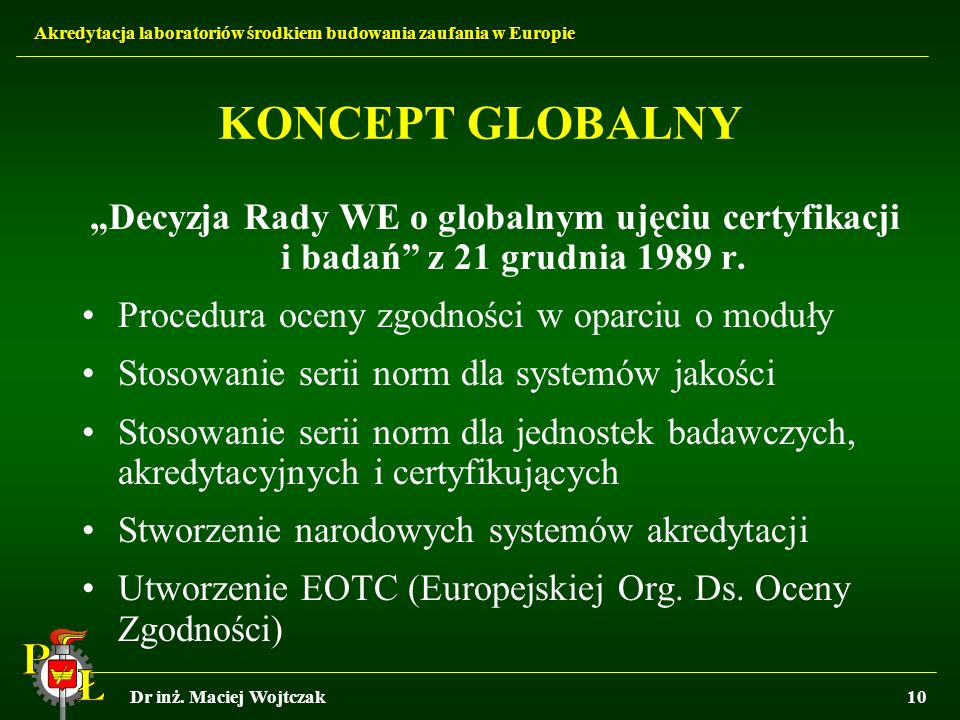 """KONCEPT GLOBALNY """"Decyzja Rady WE o globalnym ujęciu certyfikacji i badań z 21 grudnia 1989 r. Procedura oceny zgodności w oparciu o moduły."""