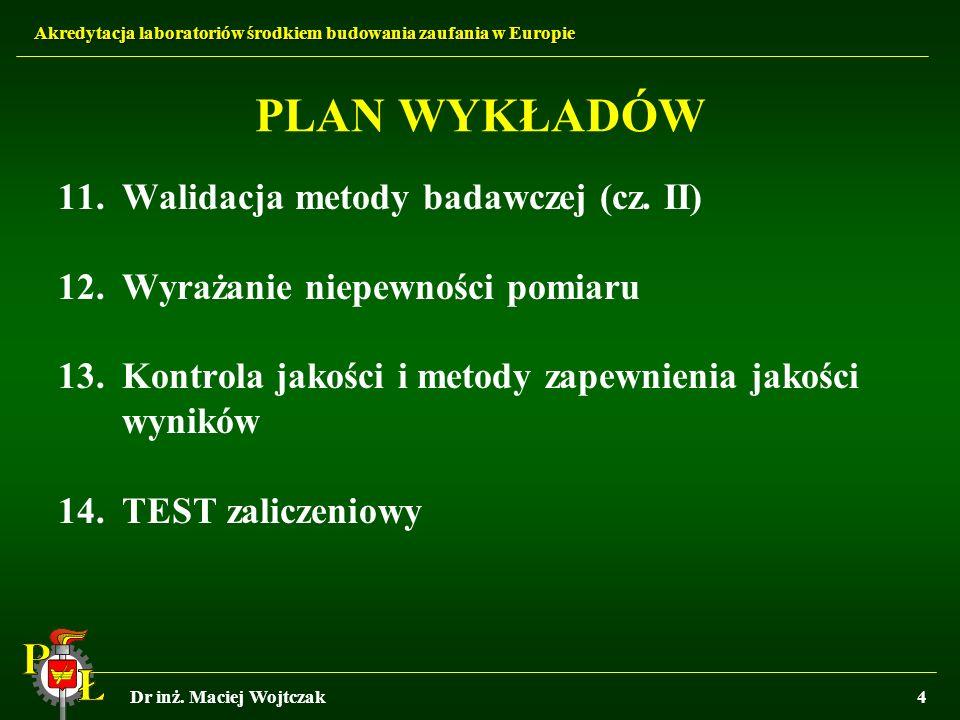PLAN WYKŁADÓW Walidacja metody badawczej (cz. II)