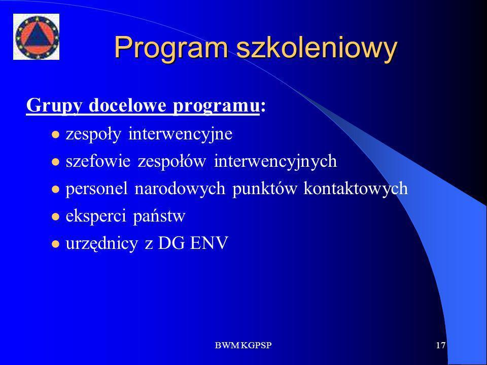 Program szkoleniowy Grupy docelowe programu: zespoły interwencyjne