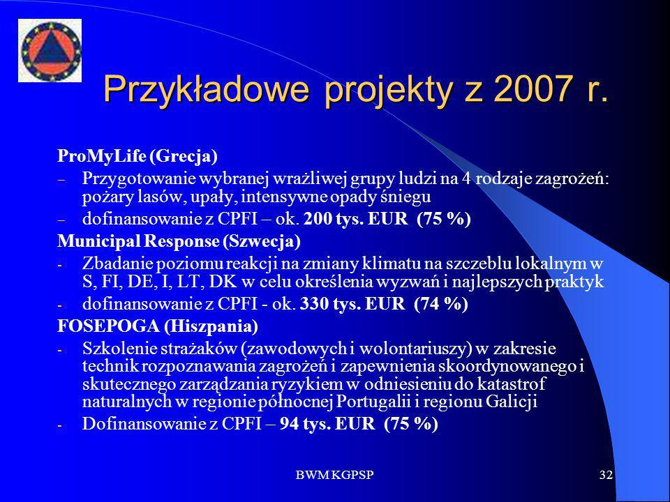 Przykładowe projekty z 2007 r.