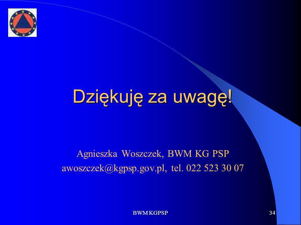 Dziękuję za uwagę! Agnieszka Woszczek, BWM KG PSP