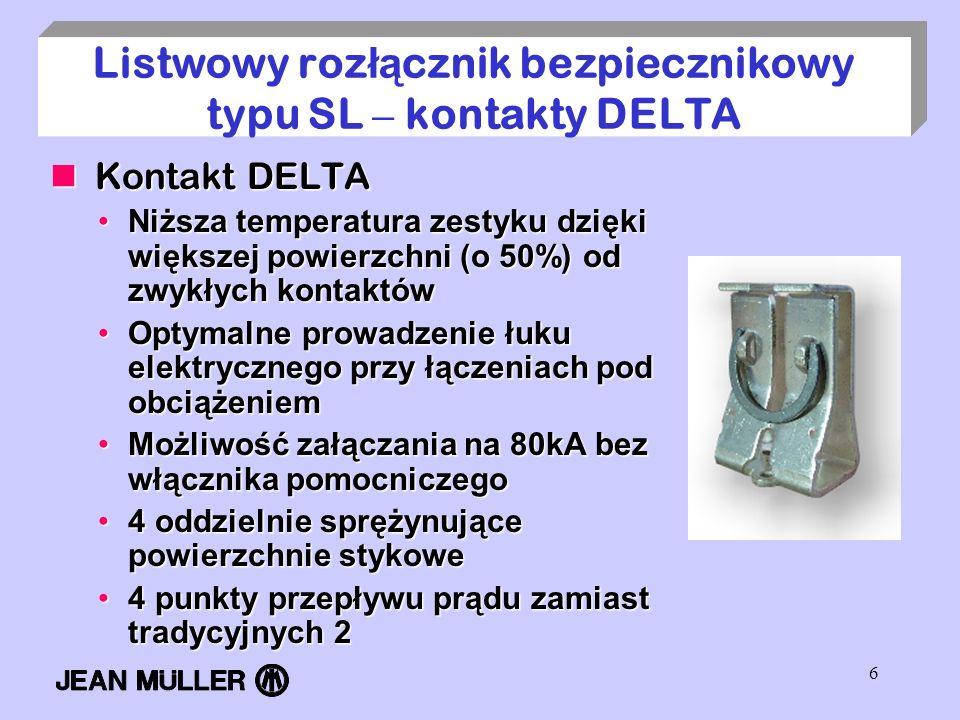Listwowy rozłącznik bezpiecznikowy typu SL – kontakty DELTA