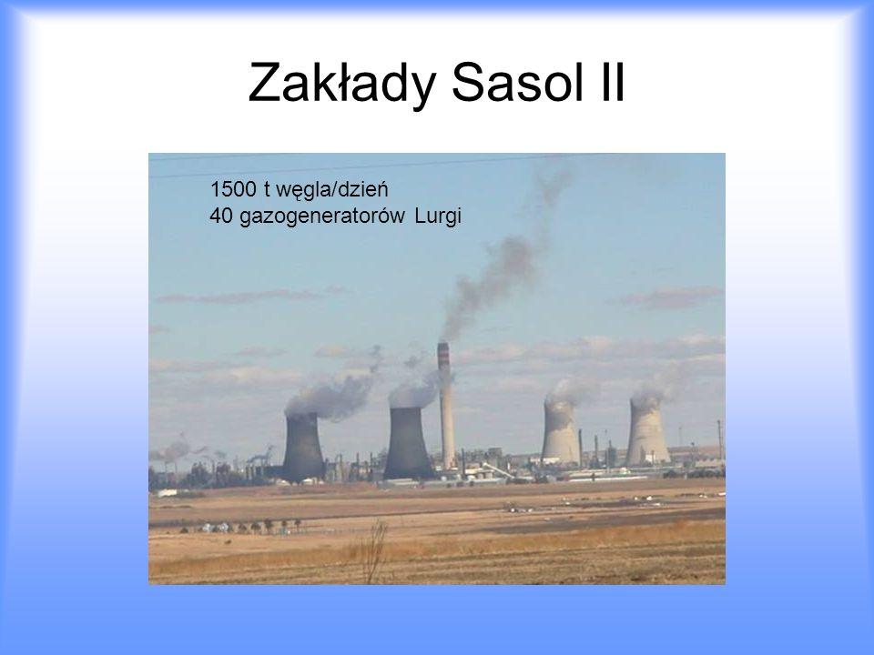 Zakłady Sasol II 1500 t węgla/dzień 40 gazogeneratorów Lurgi
