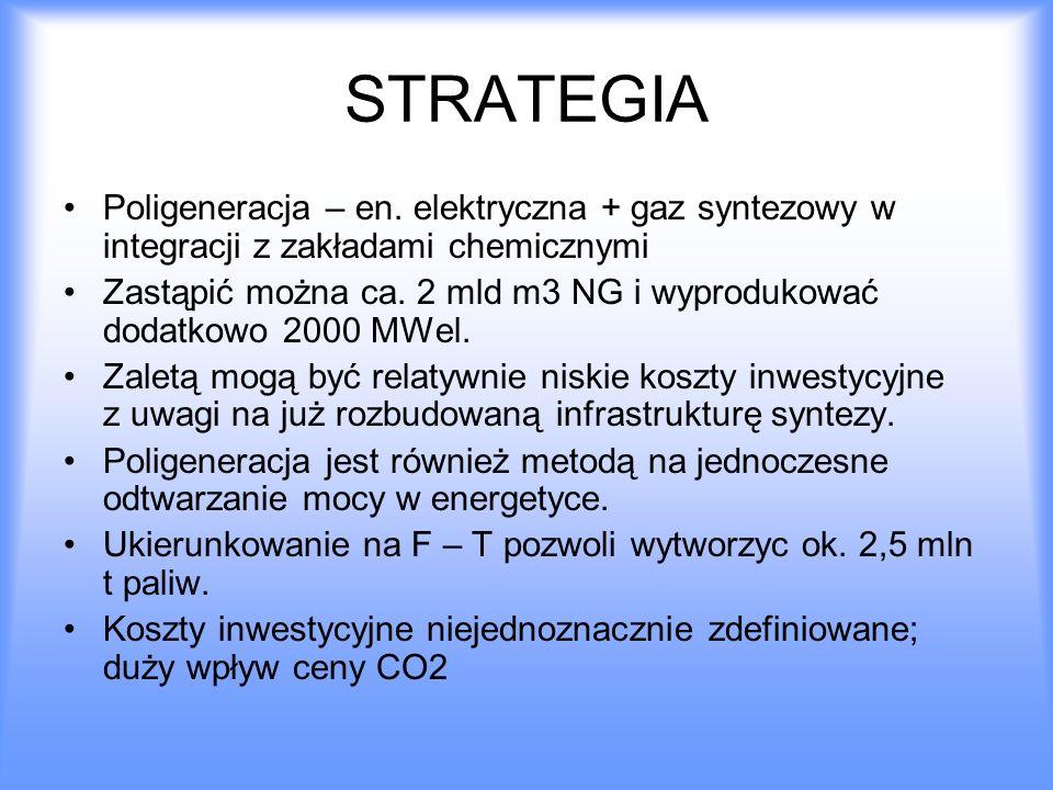 STRATEGIA Poligeneracja – en. elektryczna + gaz syntezowy w integracji z zakładami chemicznymi.