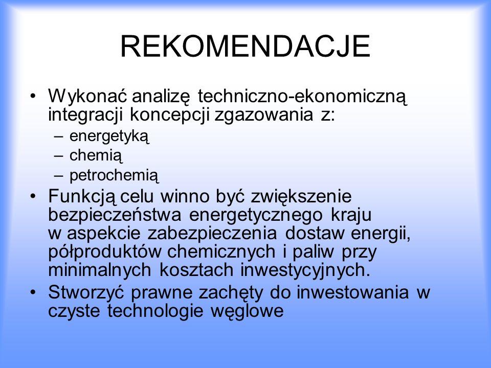 REKOMENDACJE Wykonać analizę techniczno-ekonomiczną integracji koncepcji zgazowania z: energetyką.