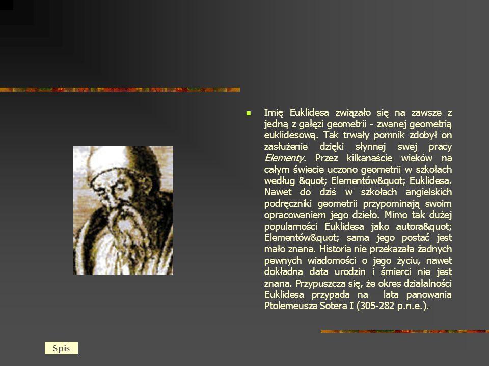 Imię Euklidesa związało się na zawsze z jedną z gałęzi geometrii - zwanej geometrią euklidesową. Tak trwały pomnik zdobył on zasłużenie dzięki słynnej swej pracy Elementy. Przez kilkanaście wieków na całym świecie uczono geometrii w szkołach według Elementów Euklidesa. Nawet do dziś w szkołach angielskich podręczniki geometrii przypominają swoim opracowaniem jego dzieło. Mimo tak dużej popularności Euklidesa jako autora Elementów sama jego postać jest mało znana. Historia nie przekazała żadnych pewnych wiadomości o jego życiu, nawet dokładna data urodzin i śmierci nie jest znana. Przypuszcza się, że okres działalności Euklidesa przypada na lata panowania Ptolemeusza Sotera I (305-282 p.n.e.).