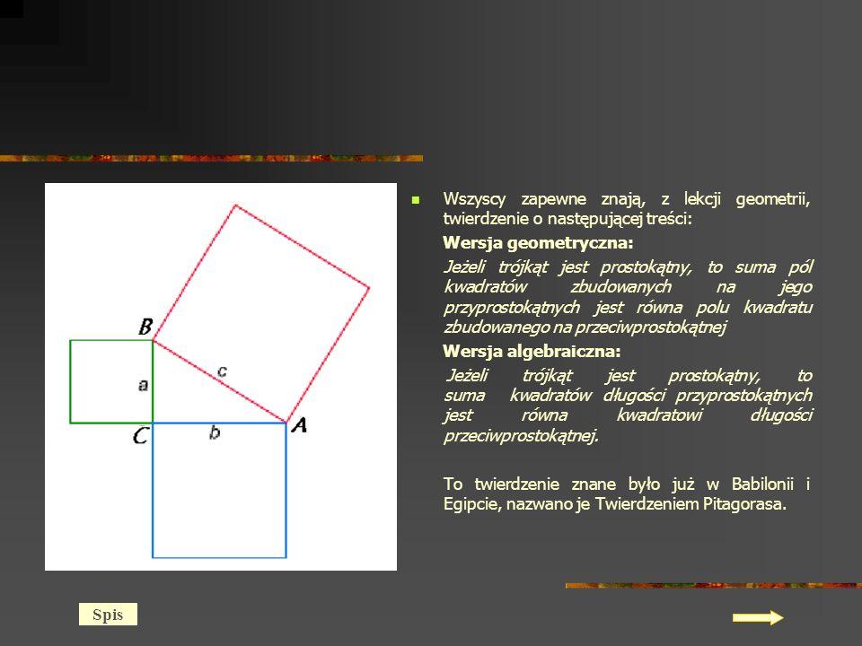 Wszyscy zapewne znają, z lekcji geometrii, twierdzenie o następującej treści: