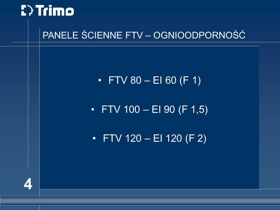 FTV 80 – EI 60 (F 1) FTV 100 – EI 90 (F 1,5) FTV 120 – EI 120 (F 2)