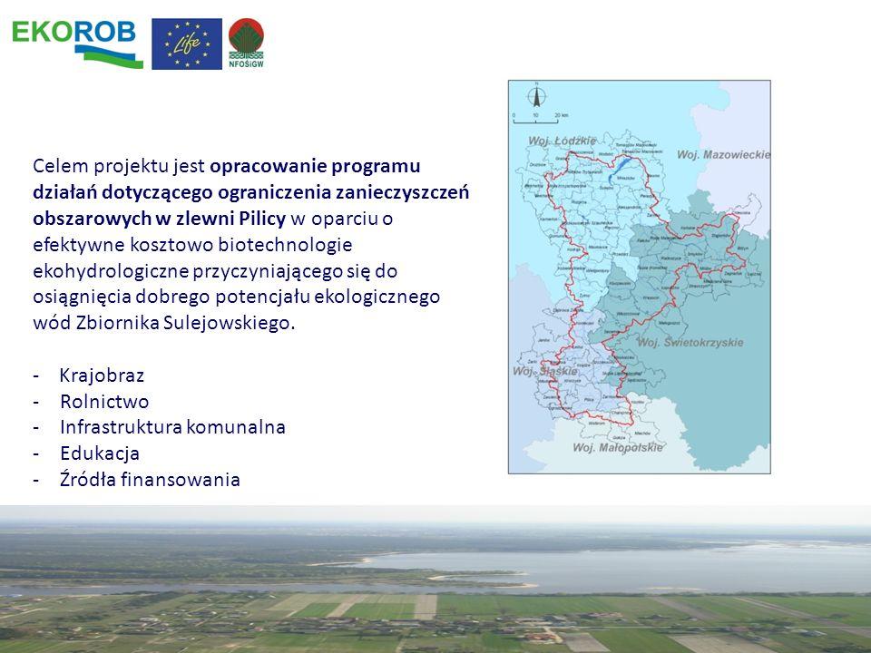 Celem projektu jest opracowanie programu działań dotyczącego ograniczenia zanieczyszczeń obszarowych w zlewni Pilicy w oparciu o efektywne kosztowo biotechnologie ekohydrologiczne przyczyniającego się do osiągnięcia dobrego potencjału ekologicznego wód Zbiornika Sulejowskiego.