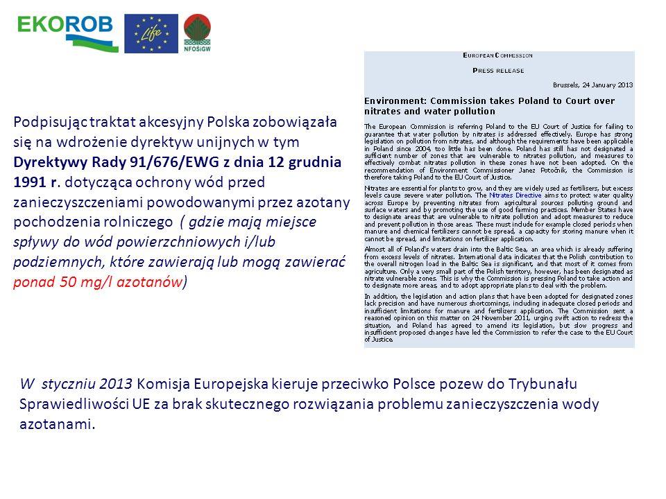 Podpisując traktat akcesyjny Polska zobowiązała się na wdrożenie dyrektyw unijnych w tym Dyrektywy Rady 91/676/EWG z dnia 12 grudnia 1991 r. dotycząca ochrony wód przed zanieczyszczeniami powodowanymi przez azotany pochodzenia rolniczego ( gdzie mają miejsce spływy do wód powierzchniowych i/lub podziemnych, które zawierają lub mogą zawierać ponad 50 mg/l azotanów)