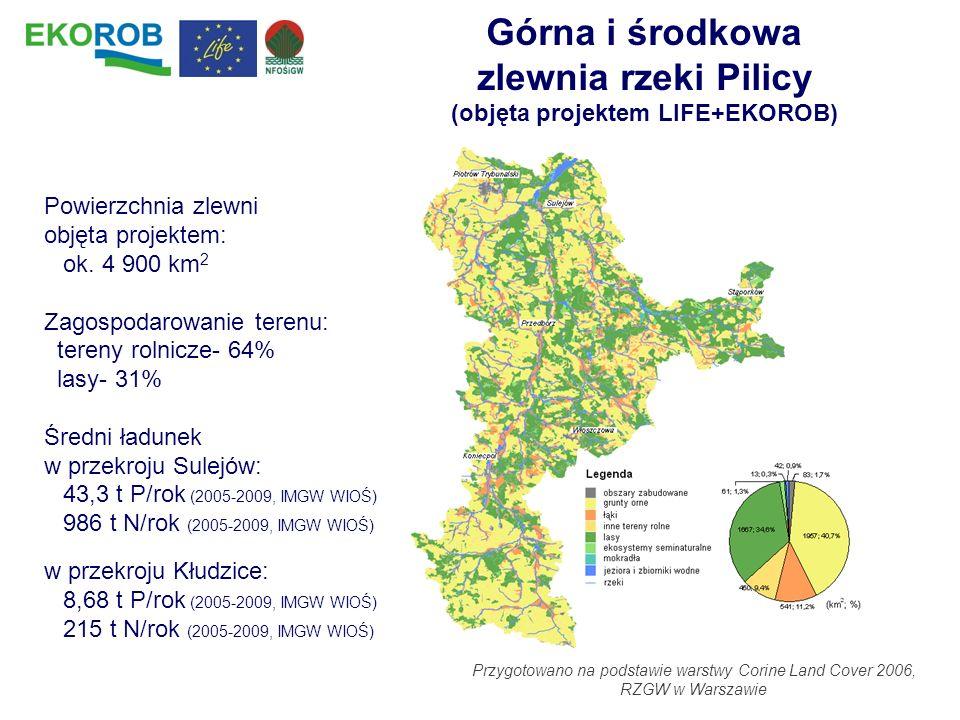 Górna i środkowa zlewnia rzeki Pilicy (objęta projektem LIFE+EKOROB)