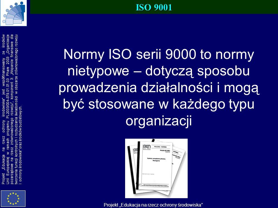 ISO 9001 Normy ISO serii 9000 to normy nietypowe – dotyczą sposobu prowadzenia działalności i mogą być stosowane w każdego typu organizacji.