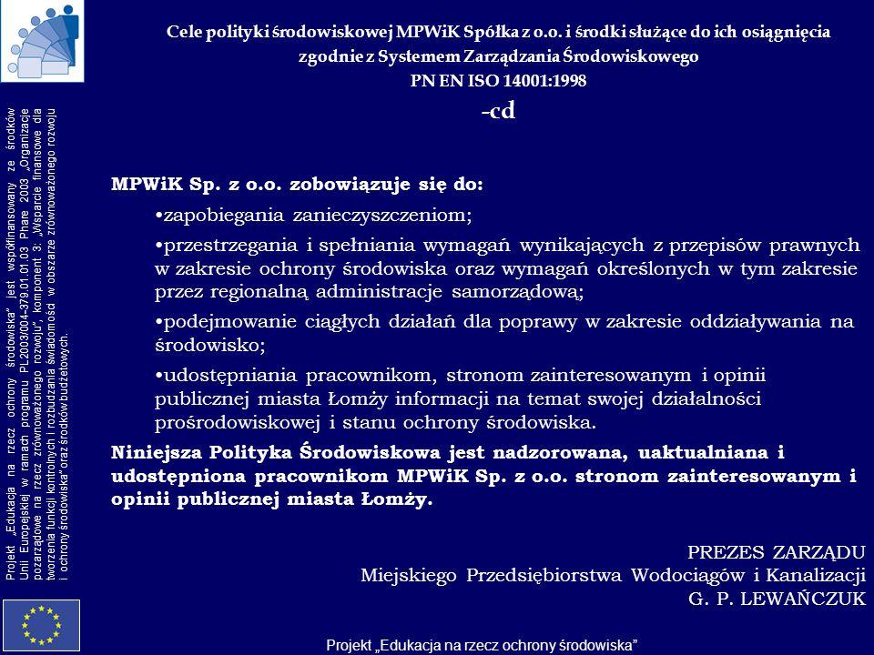 -cd MPWiK Sp. z o.o. zobowiązuje się do: