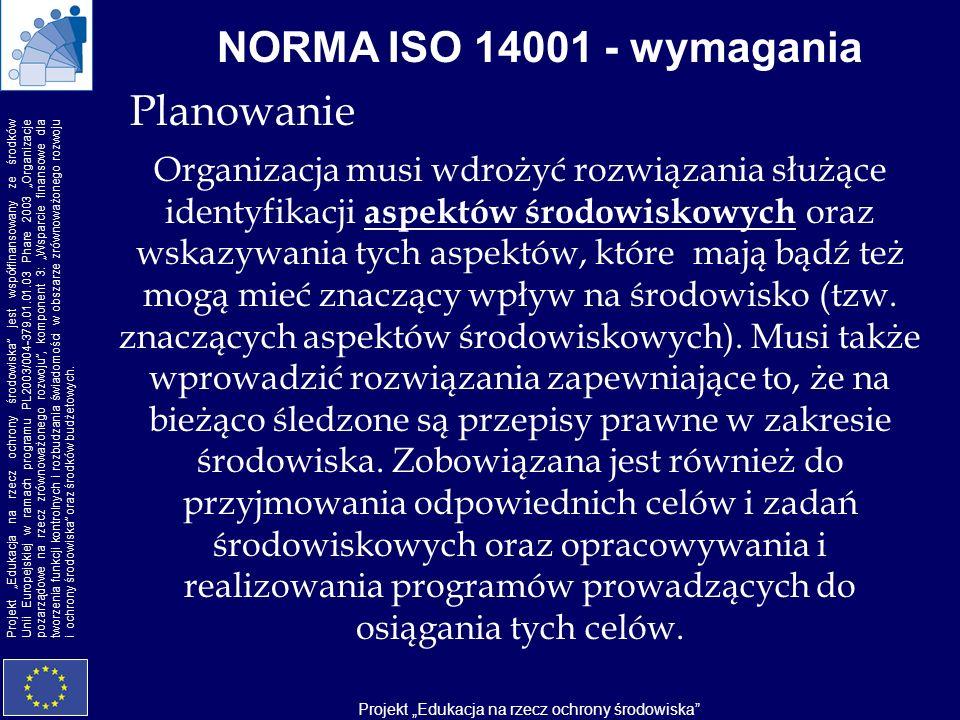 NORMA ISO 14001 - wymagania Planowanie